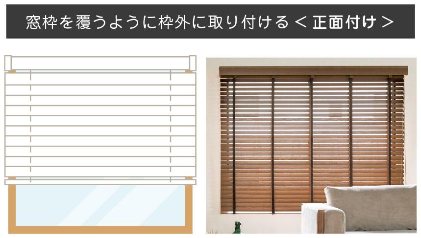 ブラインド取り付け方法 窓枠を覆うように取り付ける正面付け