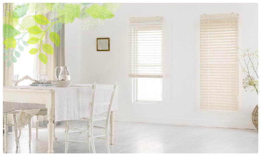 スタンダードウッド(木製)ブラインド 明るいホワイト系