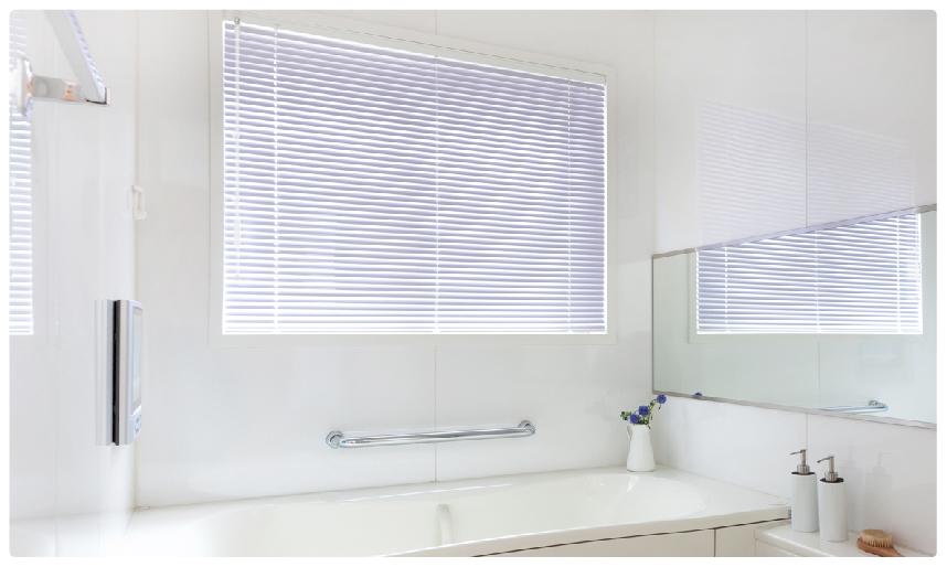 格安つっぱり式耐水アルミブラインド浴室使用